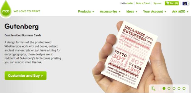 MOO business card Gutenberg